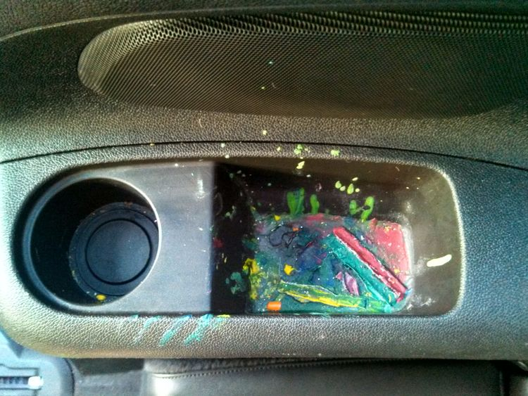 melted crayon in cup holder