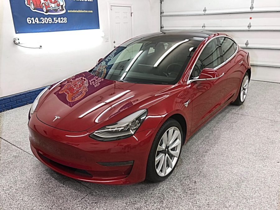 Red 2018 Tesla Model 3 Awd Auto Detail Doctor